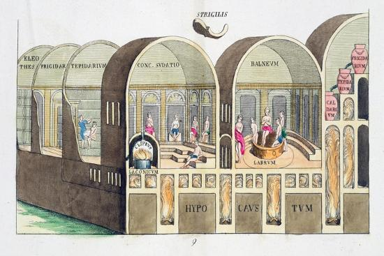 Cross section of a Roman baths, 19th century-Unknown-Giclee Print