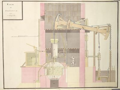 Cross-Section of a Steam Machine to Extract Water from Mines, c.1760