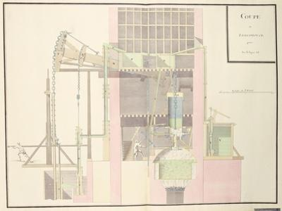 Cross-Section of a Steam Machine to Raise Water from Mines, c.1760