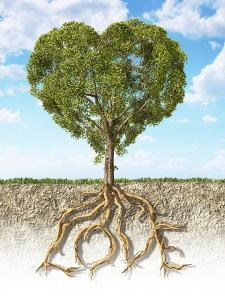Cross Section of Soil Showing a Heart-Shaped Tree with its Roots as Text Lov