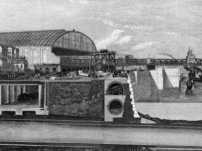 Cross Section of Thames Embankment Showing Subway, Sewer, and Railway