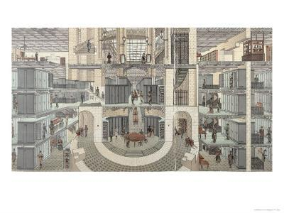 Cross-Section of the Basement of the Credit Lyonnais, 19 Boulevard Des Italiens, c.1878-82--Giclee Print