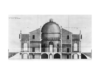 Cross-Section of the Villa Rotonda Near Vicenza, Designed by Andrea Palladio--Giclee Print
