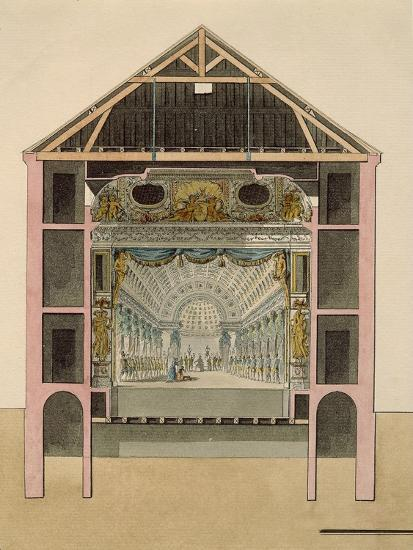 Cross Section of Theatre Stage, 1781-Claudio Linati-Giclee Print