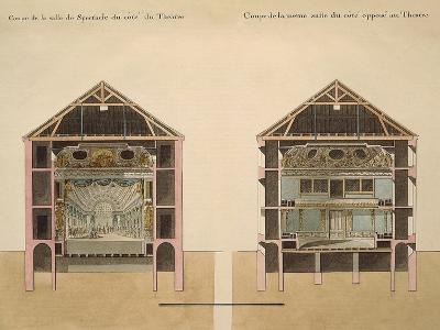 Cross Section of Theatre with Stage and Stalls, 1781-Claude Louis Chatelet-Giclee Print