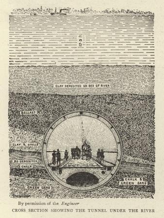 Cross Section Showing the Tunnel under the River