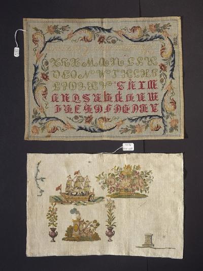 Cross-Stitch Embroidery on Thin Hemp Cloth--Giclee Print