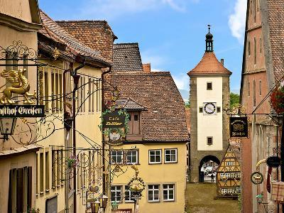 Cross Timbered Houses and Clock Tower, Rothenburg Ob Der Tauber, Germany-Miva Stock-Photographic Print