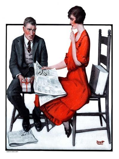 """""""Cross Words,""""February 21, 1925-Harold Brett-Giclee Print"""