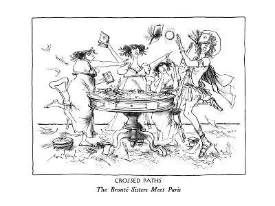 CROSSED PATHS-The Brontë Sisters Meet Paris - New Yorker Cartoon-Ronald Searle-Premium Giclee Print