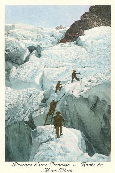 Crossing a Crevasse, Mont-Blanc Route--Art Print
