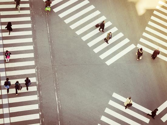 Crossing Sign Top View with People Walking Business Area-VTT Studio-Photographic Print