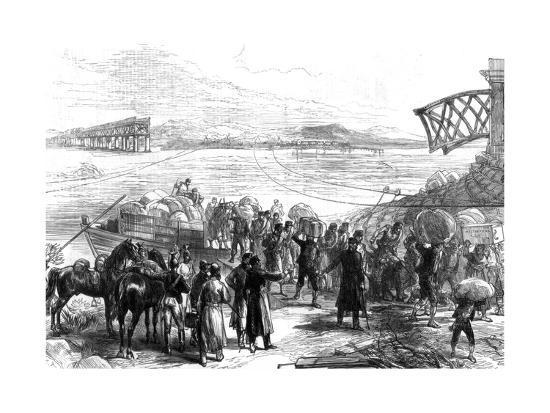 Crossing the Ebro at Castijon; War in Spain, 1875--Giclee Print
