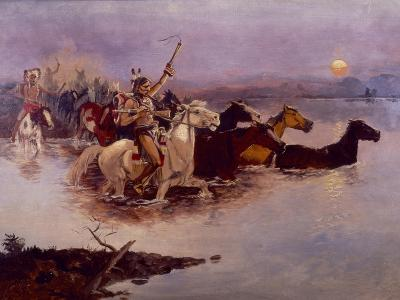 Crossing the River Charles-Charles Marion Russell-Giclee Print