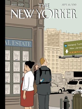 Crossroads - The New Yorker Cover, September 16, 2013-Adrian Tomine-Framed Premium Giclee Print
