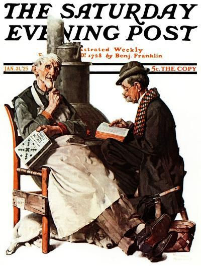 """""""Crossword Puzzle"""" Saturday Evening Post Cover, January 31,1925-Norman Rockwell-Giclee Print"""