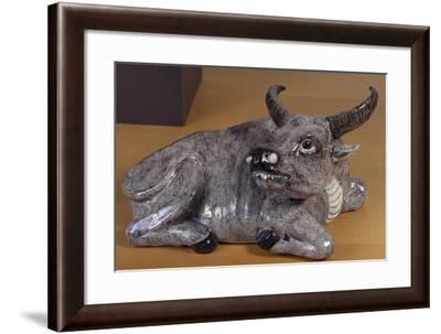 Crouching Buffalo, Porcelain Statue, China--Framed Giclee Print