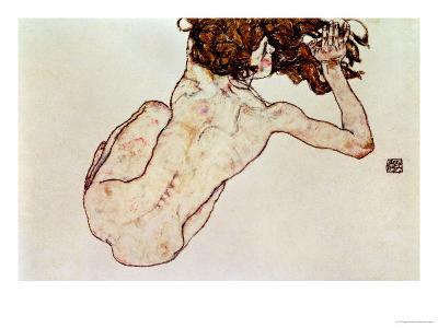 Crouching Nude, Back View, 1917-Egon Schiele-Giclee Print
