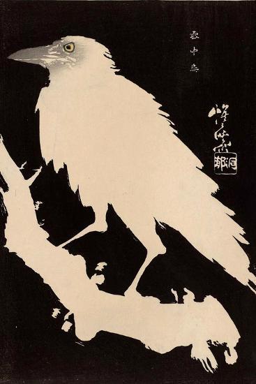 Crow in the Snow-Kyosai Kawanabe-Giclee Print