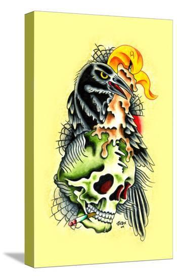 Crow & Skull-Sid Stankovits-Stretched Canvas Print