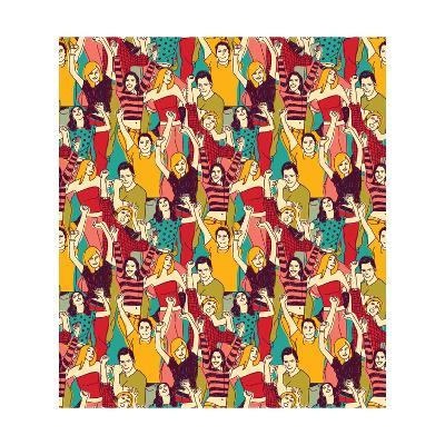 Crowd Active Happy People Seamless Color Pattern-Karrr-Art Print
