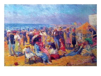Crowd at the Beach-William Glackens-Art Print