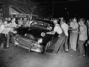 Crowd Attacking Cars Driven by African Americans to Protest Integration in the Schools