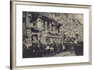 Crowd Carrying Placards Advertising Various Businesses, Leipzig, Germany--Framed Photographic Print