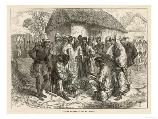 Crowd Gathers to Watch Two People Play the West African Game of Wharri--Giclee Print