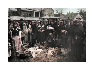 Crowd of People in the Poultry Market at Mukacevo-Hans Hildenbrand-Photographic Print