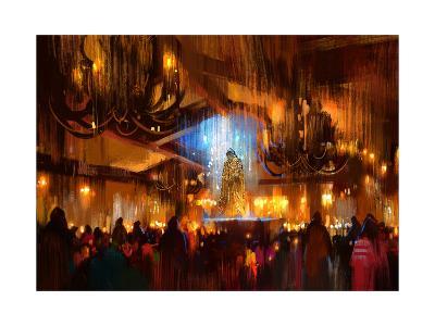Crowd of People Praying at Holy Night,Digital Painting-Tithi Luadthong-Art Print