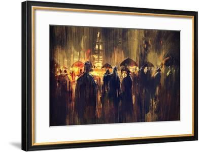 Crowd of People with Umbrellas at Night,Digital Painting-Tithi Luadthong-Framed Art Print