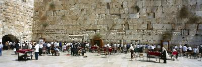 Crowd Praying in Front of a Stone Wall, Wailing Wall, Jerusalem, Israel--Photographic Print