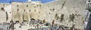 Crowd Praying in Front of a Stone Wall, Wailing Wall, Jerusalem, Israel