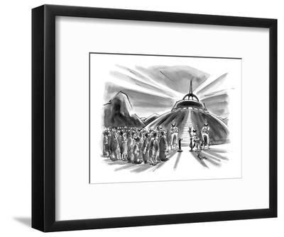 Crowd waits behind velvet rope before boarding flying saucer. - New Yorker Cartoon-Lee Lorenz-Framed Premium Giclee Print