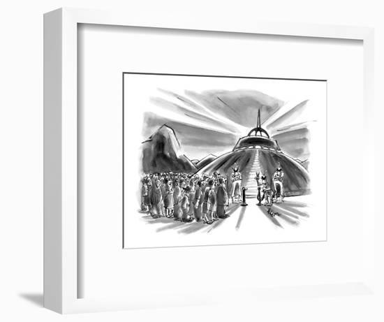 Crowd waits behind velvet rope before boarding flying saucer. - New Yorker Cartoon-Lee Lorenz-Framed Premium Giclee Print