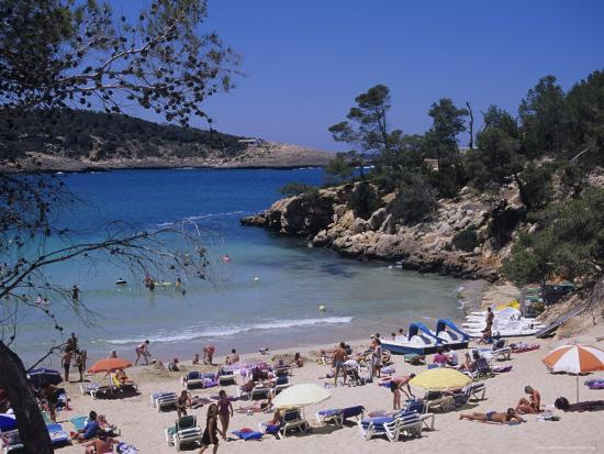 Crowded Beach at Portinatx, Ibiza, Baleares, (Spain)-J Lightfoot-Photographic Print