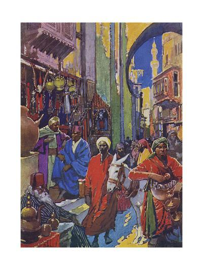 Crowded Shopping Street Bazaar in Cairo, Egypt--Giclee Print