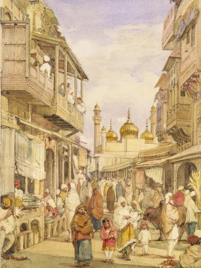 Crowded Street Scene in Lahore, India-William Carpenter-Giclee Print