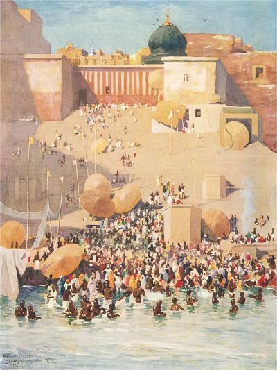Crowds at Benares, India--Art Print