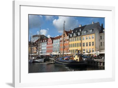 Crowds at Cafes and Restaurants, Nyhavn, Copenhagen, Denmark-Inger Hogstrom-Framed Photographic Print