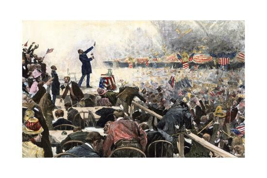 Crowds Cheer Speaker at Republican Convention Which nominated Theodore Roosevelt, Chicago, 1900--Photographic Print