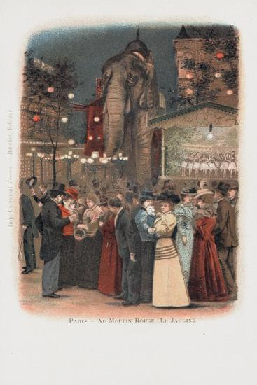Crowds in the Garden at the Moulin Rouge in Paris--Giclee Print
