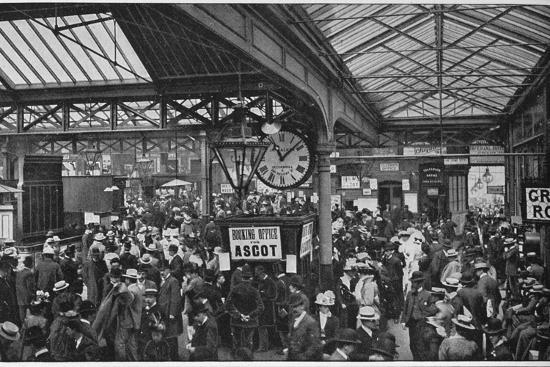 Crowds in Waterloo Station heading off to Ascot races, London, c1900 (1901)-Unknown-Photographic Print
