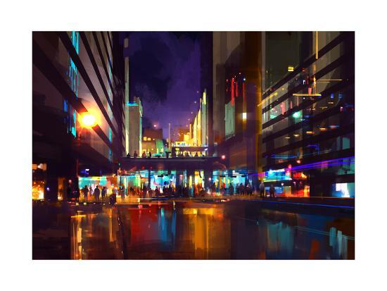 Crowds of People at a Busy Crossing in the Night with Neon Lights,Digital Painting-Tithi Luadthong-Art Print
