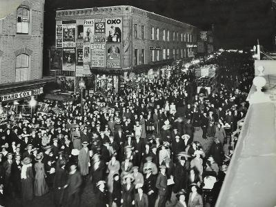 Crowds of Shoppers in Rye Lane at Night, Peckham, London, 1913--Photographic Print