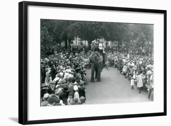 Crowds of Visitors Watch an Elephant Ride at London Zoo, August Bank Holiday,1922-Frederick William Bond-Framed Photographic Print