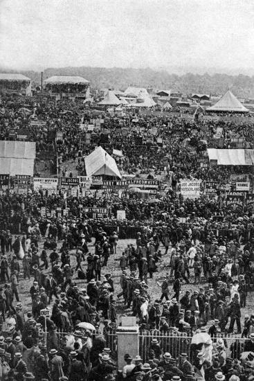 Crowds on Derby Day, Epsom Downs, Surrey, C1922-Horace Walter Nicholls-Giclee Print