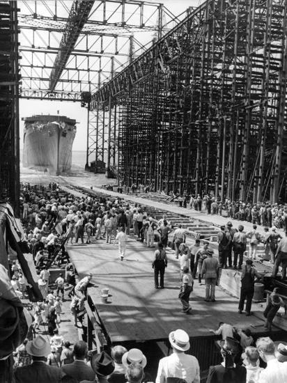 Crowds Watching Launching of New Ocean Liner, America, as in Slides into the Water-Alfred Eisenstaedt-Photographic Print