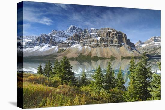 Crowfoot Mountain and Bow Lake-Mike Grandmaison-Stretched Canvas Print